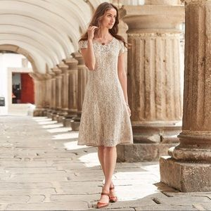 Sundance Beige tan Lace Illusion dress, medium